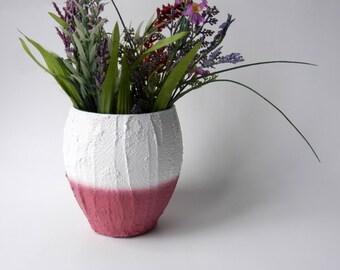 Color Block Bowl Style Vase / Raspberry / deep mulberry pink vase