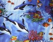 Ocean Life--Whales n Dolphin Fabric--Hawaiian Style --HARD Find-- LAST Piece