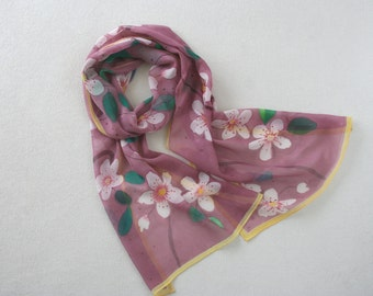 Silk scarf long, hand painted chiffon scarf (purple, green, red, yellow colours), summer scarf, purple silk scarf, plum, silk home scarves
