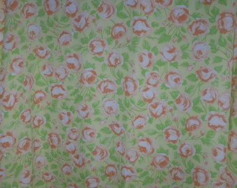 1960s Vintage Fabric~Orage Roses and Green Leaves~Lowenstein and Sons~Polyester Plisse 1 and 2/3 Yards