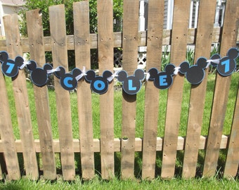 Mickey Mouse Banner Blue Mickey Mouse Inspired Banner Mickey Birthday Boy Name Age Banner Sign Party Decoration Photo Prop Cole Banner