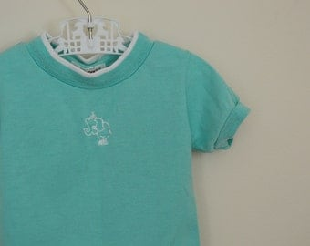 Vintage Ringer Shirt with Circus Elephant Applique - Size 12 Months