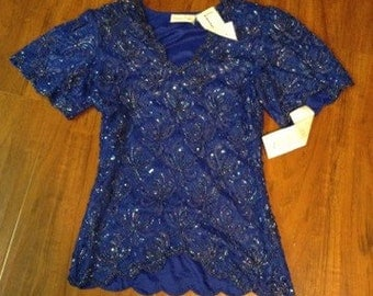 Vintage royal blue sequin glam top by lawernce kazar NWT size small