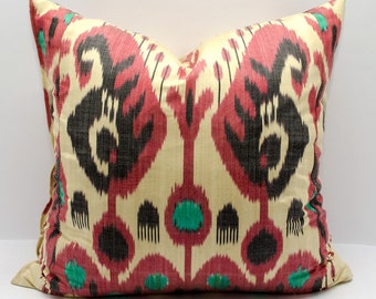 20x20 ikat pillow cover black red cream pillow cover cushion case, decorative, pillow cover, ikat cover, design pillow, home pillow