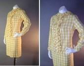 60s dress 1960s vintage YELLOW GINGHAM ruffle white mod dolly tuxedo check dress