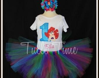Embroidred Personalized birthday Ariel Little Mermaid theme Onesie bodysuit  top tutu dress 6-12m 18m 24m 2t 3t 4t 5t 6 7/8