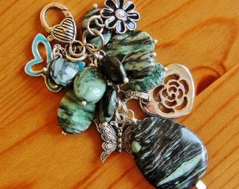 Statement purse charm dangle pendant chunky big large jasper stone gemstone natural boho bohemian modern heart flower butterfly chic jewelry