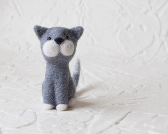 Riley the Gray Cat, needle felted animal, art fiber sculpture
