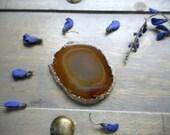 Destash.  Agate Slab Geode Druzy Edge Orange- Brown Umber - Non Drilled Craft Supplies Assemblage Supplies Destash Supplies Pendant Earthy