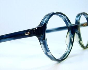 Vintage 70s BlueGreen Big Lens Eyeglasses Eyewear Frames NOS