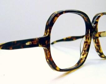Vintage 80s Tortoise Big Lens Cateye Eyeglasses Eyewear Frame