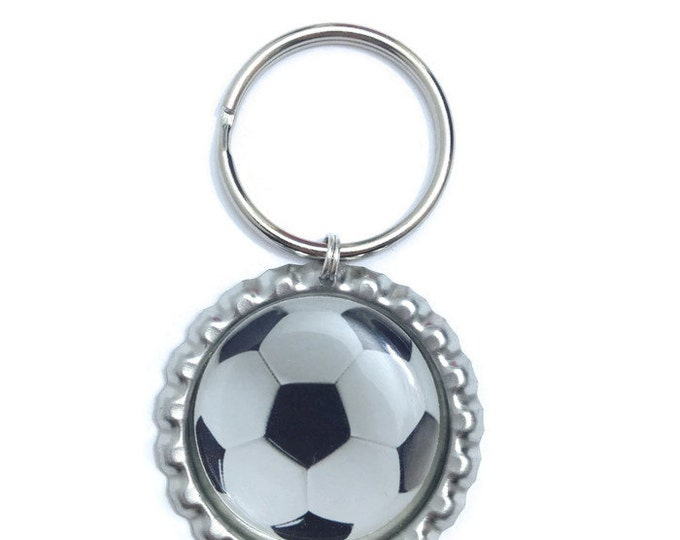 Soccer Ball Keychain, Keyring, Zipper Pull, Purse Charm, Wallet Charm - Handmade To Order