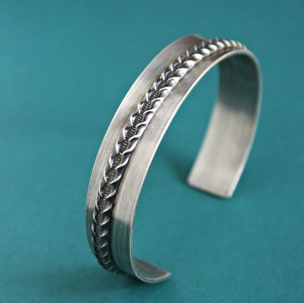 Mens Silver Bangle Cuff Bracelet