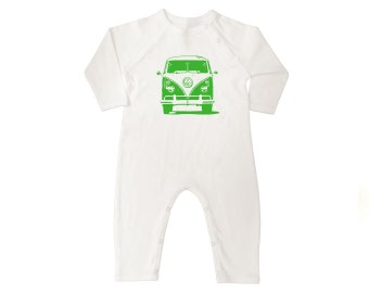 VW Van Organic Cotton Long Sleeve Baby Coveralls