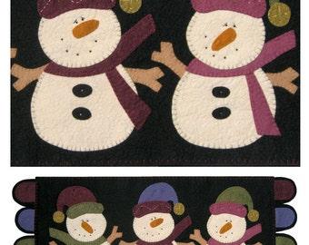 Wool Felt Kit for Jingle Bell Snowmen Penny Rug