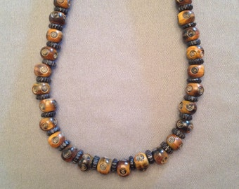 men's choker made of animal horn beads