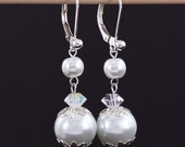 Bridal Earrings, Dangling Pearls Jewelry, Crystal Wedding Earrings for Bride or Bridesmaid, Claire Collection