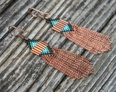 Seed Bead and Copper Fringe Earrings