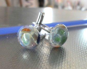 Lampwork Cuff Links, Handmade Accessories For Men, Handmade Unisex Glass Cuff Links, Unique Father's Day Gift For Him