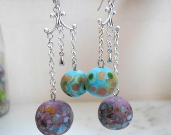 Lampwork Glass Earrings, Handmade Jewelry, Etched Glass Chain Earrings, Contemporary Handmade Lampwork Jewelry Gift for Her for Christmas
