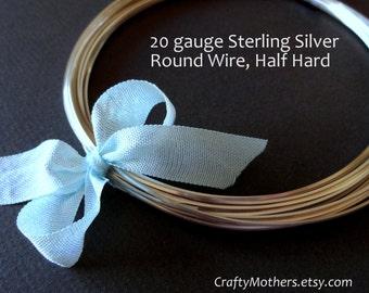 3 feet, 20 gauge Sterling Silver Wire - Round, HALF HARD, solid .925 sterling silver, wire wrapping, earrings, necklace, precious metals