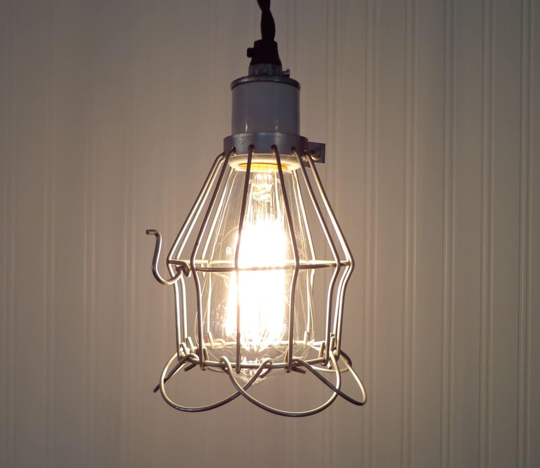 Industrial Edison Pendant Light: Vintage Industrial Cage PENDANT Light With Edison Bulb