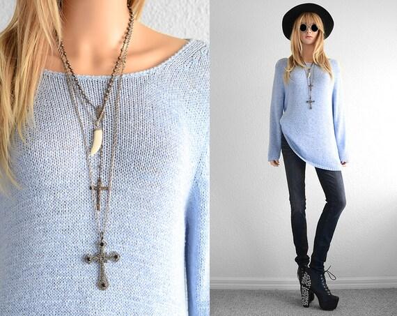 Baby Blue Minimalist Knit Sweater Oversized Sweater Womens
