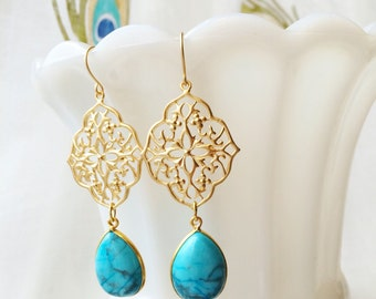 Turquoise Gold Earrings Bridal Wedding Summer Jewelry by MinouBazaar