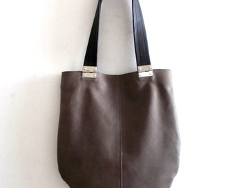 Drak gray  leather tote, Every day leather bag,  tote with black straps and hinges