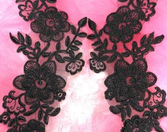 """BL74 Black Venice Lace Mirror Pair Flower Applique 10"""" (BL74X-bk)"""