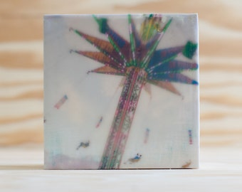 Encaustic Photography Tiny Art Ready-to-Hang Wood Block, Midway Swings, Carnival, State Fair, Green Pink Blue, 4x4 inches