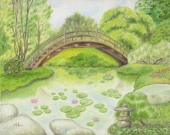 japanese bridge garden 8x10 print