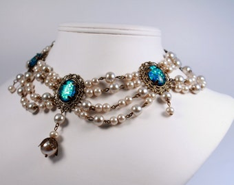 Special Edition Lotus Pearl Tudor Necklace Renaissance Medieval Costume Game of Thrones Regency Victorian Jewelry