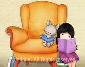 Reading book nook, books art print, girls bedroom art, Children art, kids room decor, girls room wall art, nursery prints, art poster, pink