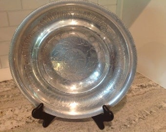 Vintage Hammered Hand Wrought Aluminum Round Serving Bowl Floral and Lace Motif Etching