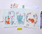 "Illustrated Cards with sweet fox, birds and owls - size 4 x6 ""- set of 3 cards"