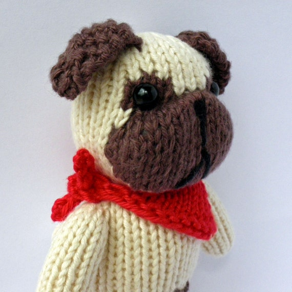 Knitted Pug Pattern : Petras Pug toy knitting pattern by BooBiloo on Etsy
