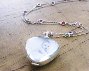 long gemstone necklace glass locket heart shape double sided photo locket, anniversary, wedding bridal gift, mother's day