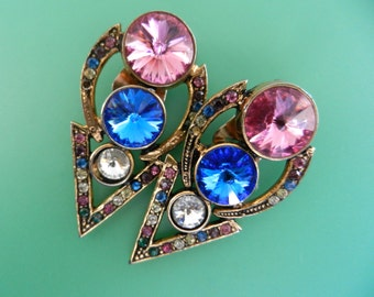 1970s  very sparkling earrings - italian Couture design clip earrings  lit by large Rivoli crystals and Multicolor -- Art.778/3--