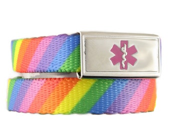 Medical Bracelet Candy Stripe Nylon Webbing with Stainless Steel Medical Tag