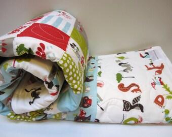 Baby Quilt-Fox Hollow-Gender Neutral-Organic Monaluna Fabric-Modern Crib Bedding-Alphabet Baby Blanket-Woodland Blanket