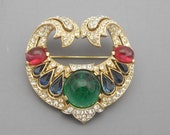 RESERVED-For MAMFX Bunny-Trifari Jewels of India Brooch, Trifari Brooch, Rhinestone Brooch, Statement Brooch,