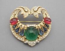 Trifari Jewels of India Brooch, Trifari Brooch, Rhinestone Brooch, Statement Brooch, Rare Trifari Brooch, Alfred Philippe Brooch