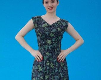Vintage 1950s Pinup Rockabilly Fun Print Cotton Day Dress
