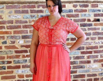Vintage 1950s Salmon Embroidered The House of Shroyers Pin Up Rockabilly Picnic Dress