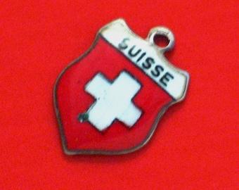 Silver enamel shield bracelet charm necklace pendant lot of 3 old travel Suisse Stuttgart Milano tag medallion Escutcheon 925 800 sterling
