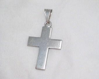 Mens womens unisex plain engraveable cross 925 sterling silver necklace pendant