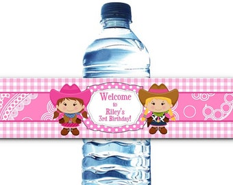10 Waterproof Peel & Stick Water Bottle Labels, Western Theme, Cowboy or Cowgirl, Pink, Blue, Baby Shower, Birthday Party