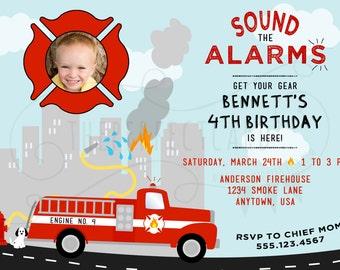 Firetruck - Sound the Alarm - Fireman Birthday Party Invitation