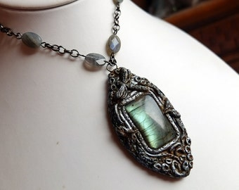 labradorite necklace, hand sculpted clay, wearable art, unique artisan jewellery, polymer clay, wire wrapped, one of a kind